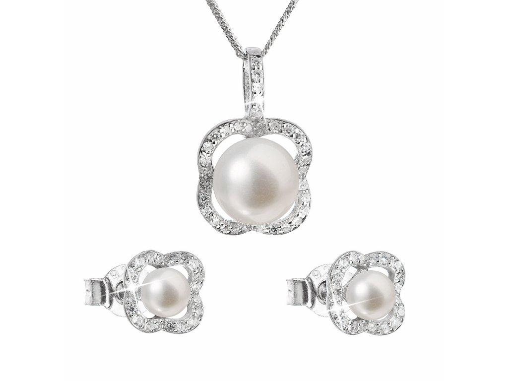 Perlová souprava z říčních perel bílá 29024.1