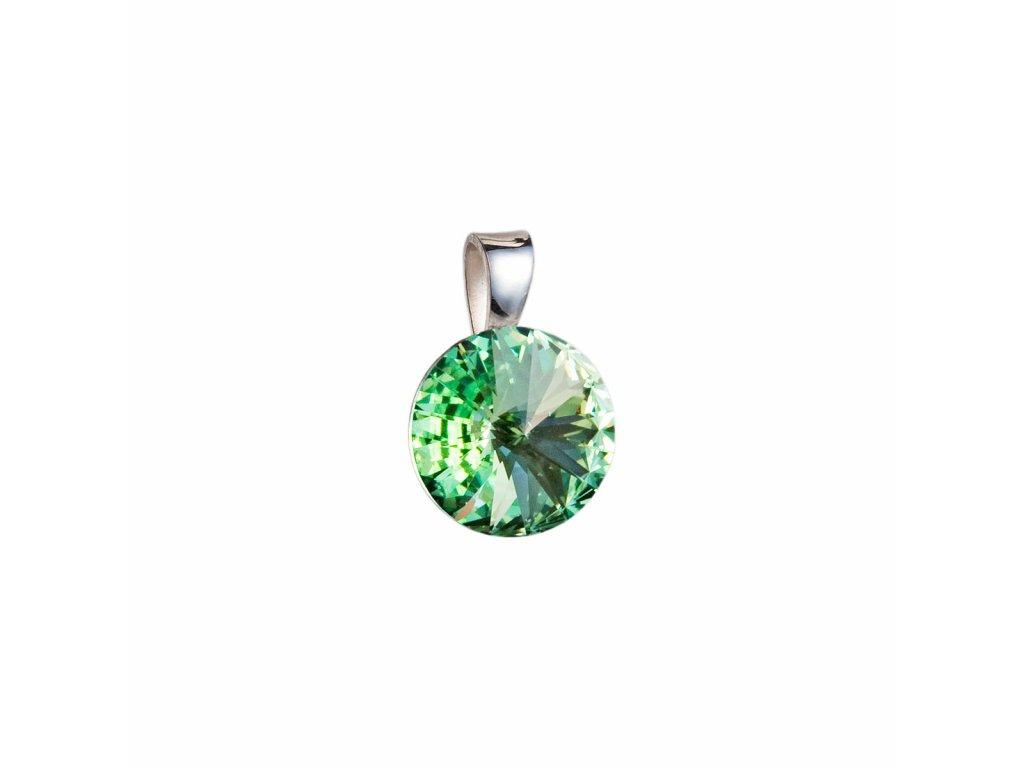 Stříbrný přívěsek s krystaly Swarovski zelený kulatý-rivoli 34112.3