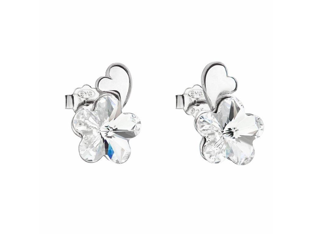 Stříbrné náušnice pecka s krystaly Swarovski bílá kytička 31263.1