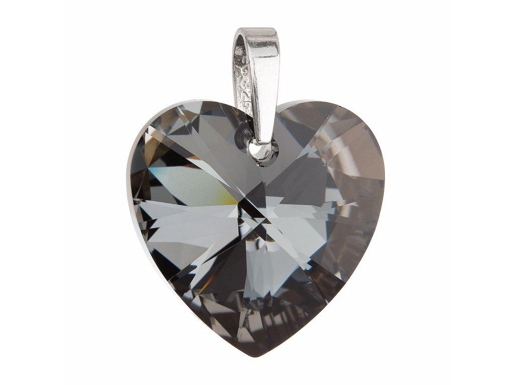 Stříbrný přívěsek s krystaly Swarovski černé srdce 34004.4