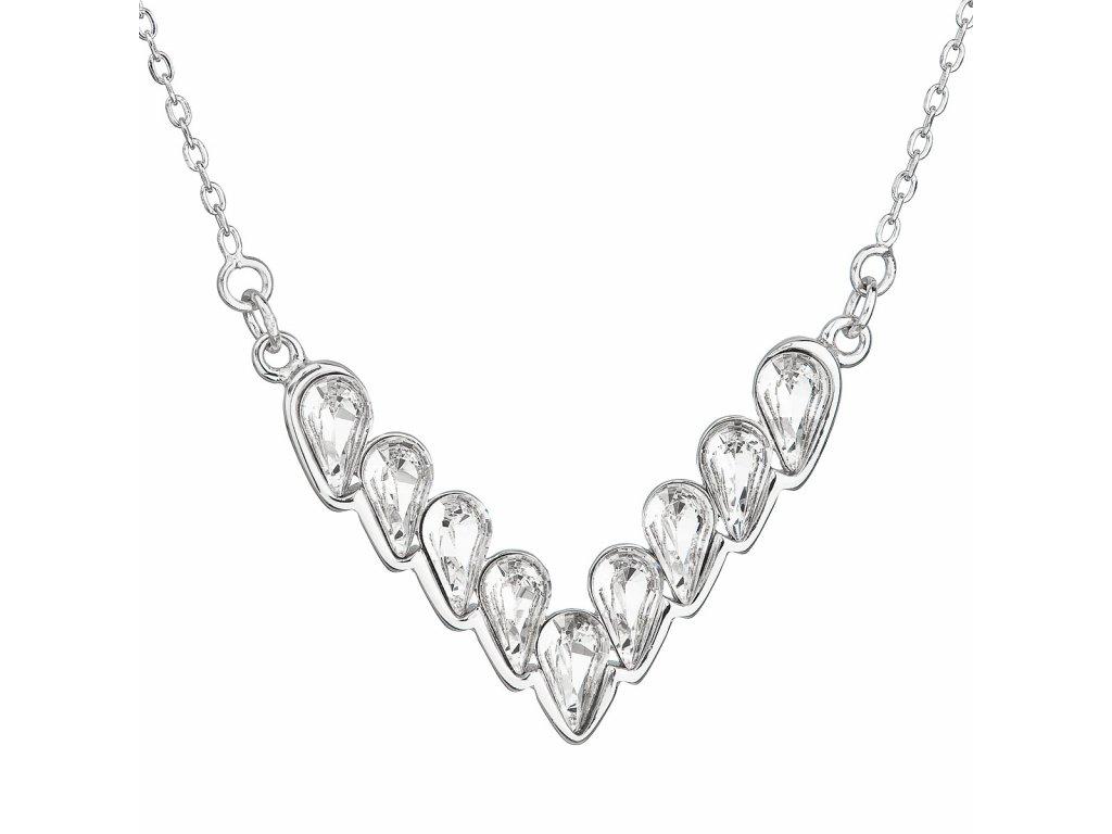 Stříbrný náhrdelník s krystaly Swarovski bílý 32067.1