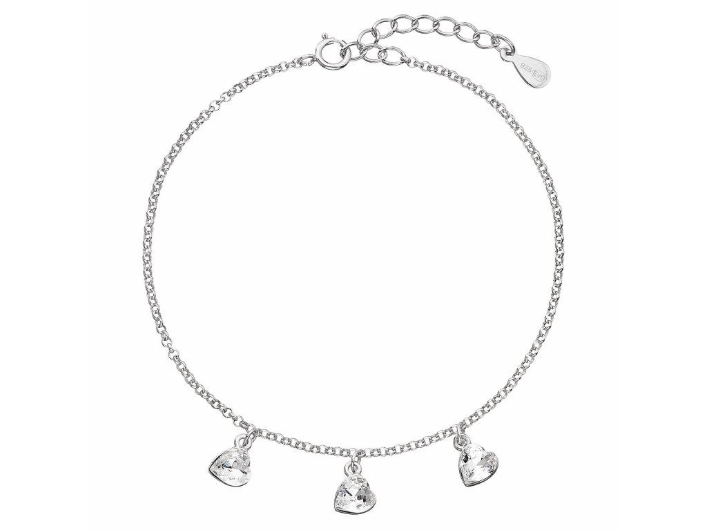 Stříbrný náramek se Swarovski krystaly bílé srdce 33108.1