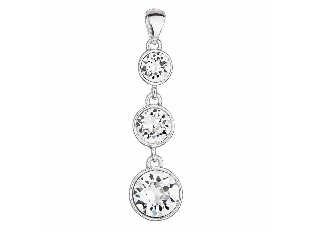 Stříbrný přívěsek s krystaly Swarovski bílý kulatý 34242.1