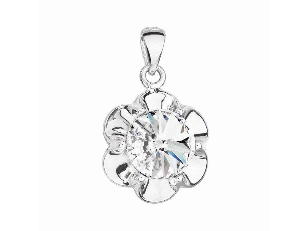 Stříbrný přívěsek s krystalem Swarovski bílá kytička 34230.1