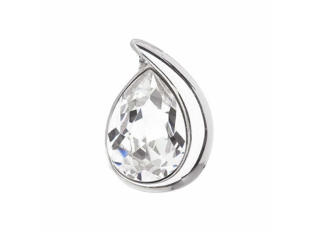 Stříbrný přívěsek s krystalem Swarovski bílá slza 34233.1
