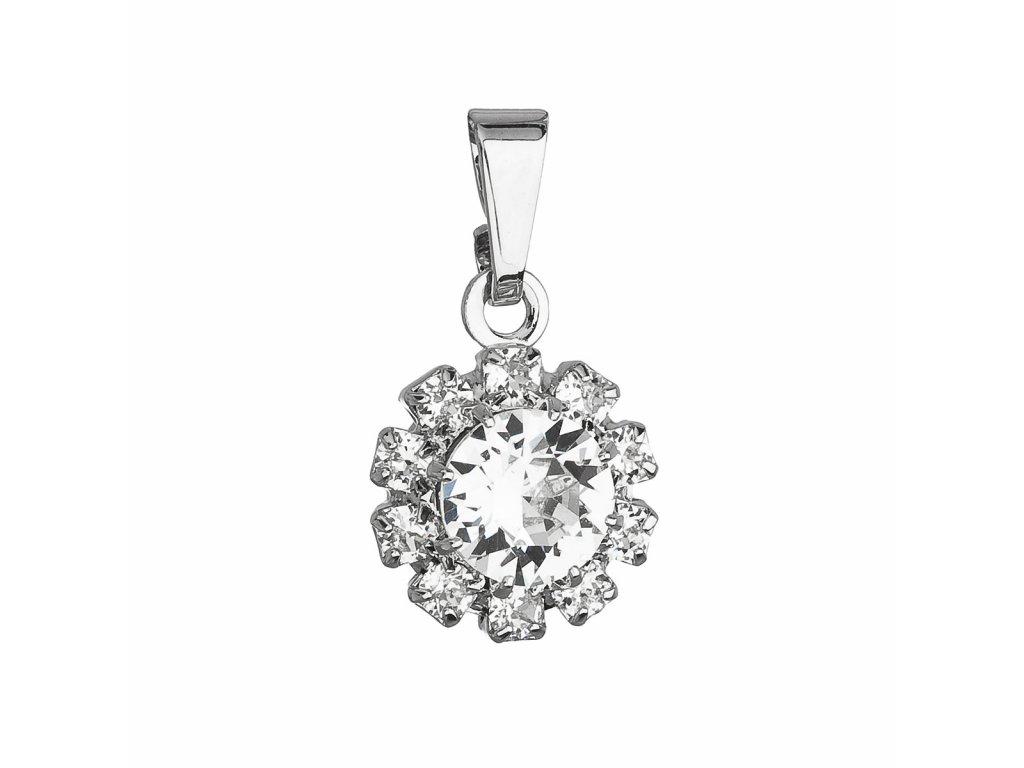 Přívěsek bižuterie se Swarovski krystaly bílá kytička 54036.1
