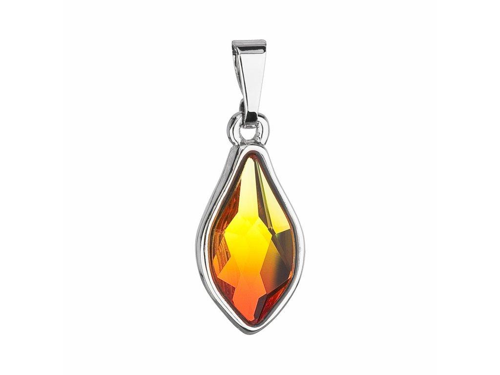 Přívěsek bižuterie se Swarovski krystaly oranžová kapka 54035.3