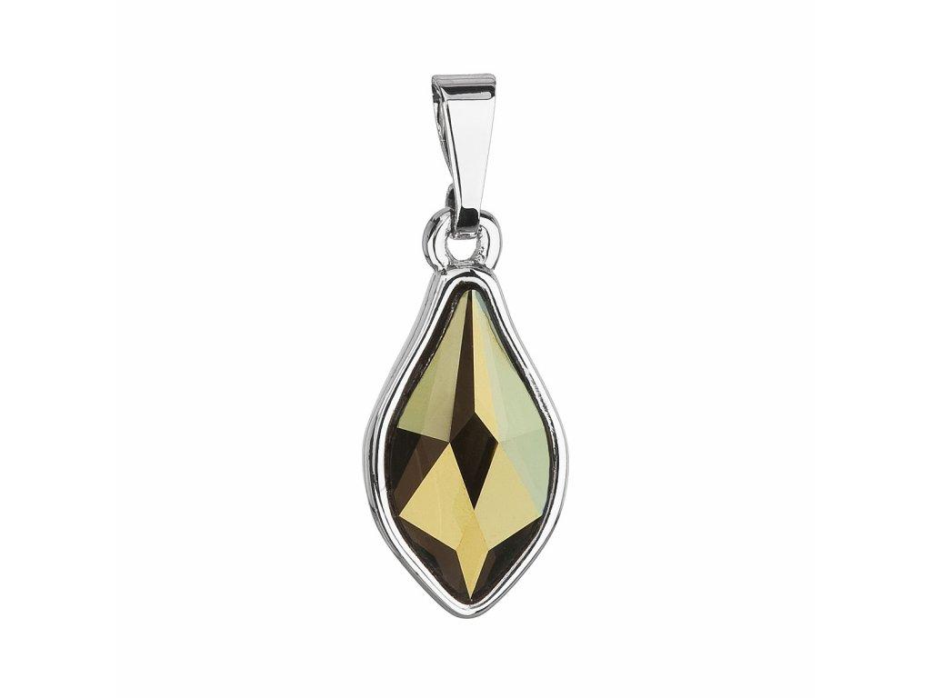 Přívěsek bižuterie se Swarovski krystaly zelená kapka 54035.3