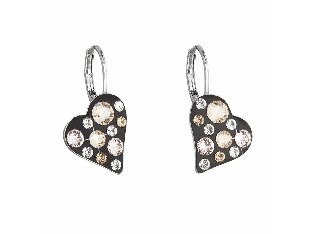 Náušnice bižuterie se Swarovski krystaly zlaté srdce 51043.3