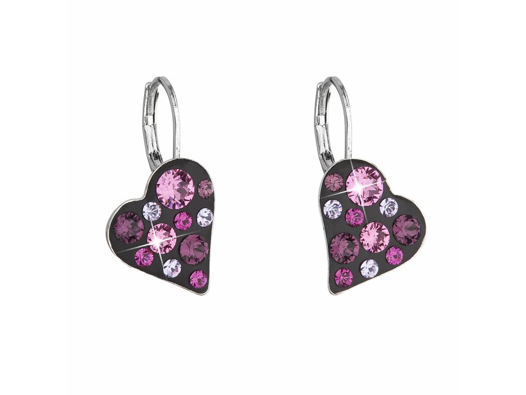 Náušnice bižuterie se Swarovski krystaly růžové srdce 51043.3