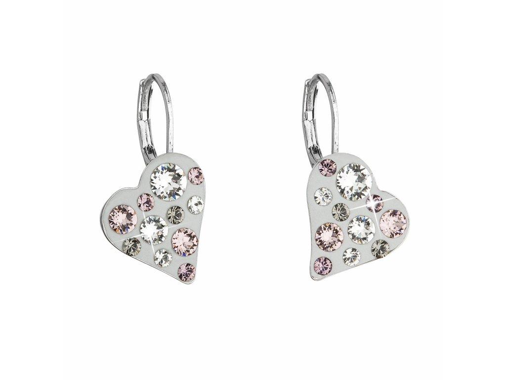 Náušnice bižuterie se Swarovski krystaly šedé srdce 51043.3