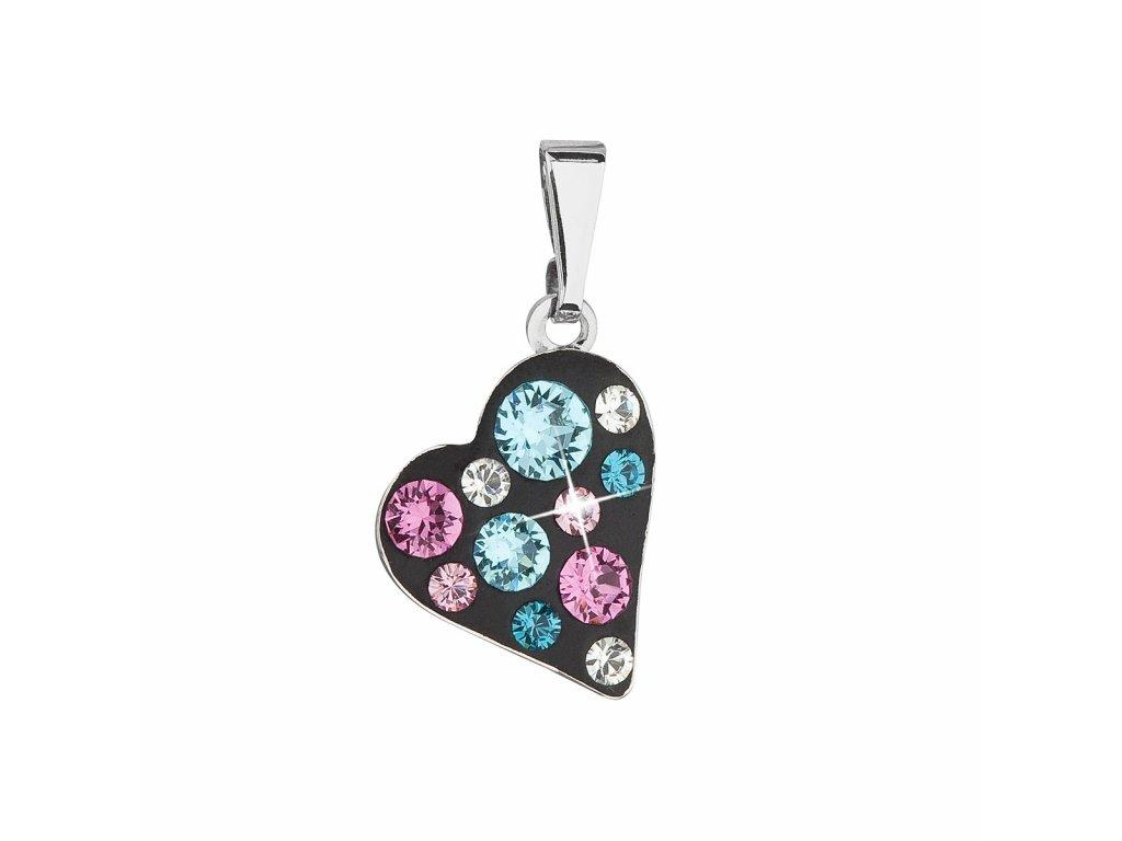 Přívěsek bižuterie se Swarovski krystaly modré srdce 54027.3