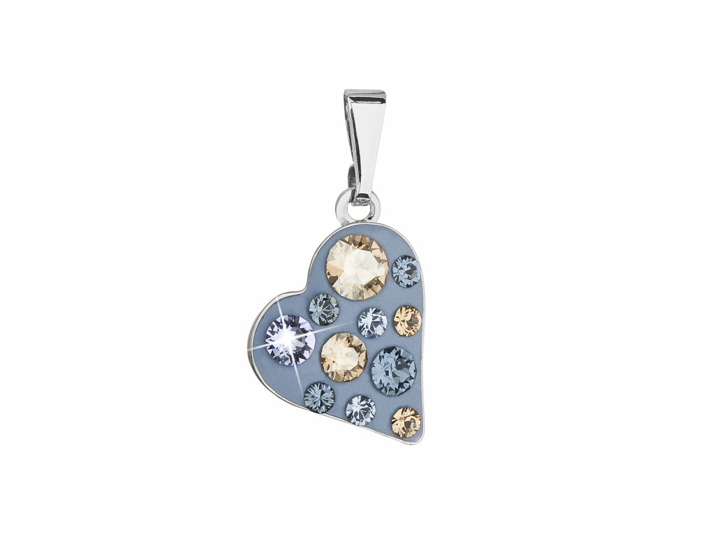 Přívěsek bižuterie se Swarovski krystaly modré srdce 54027.3 denim