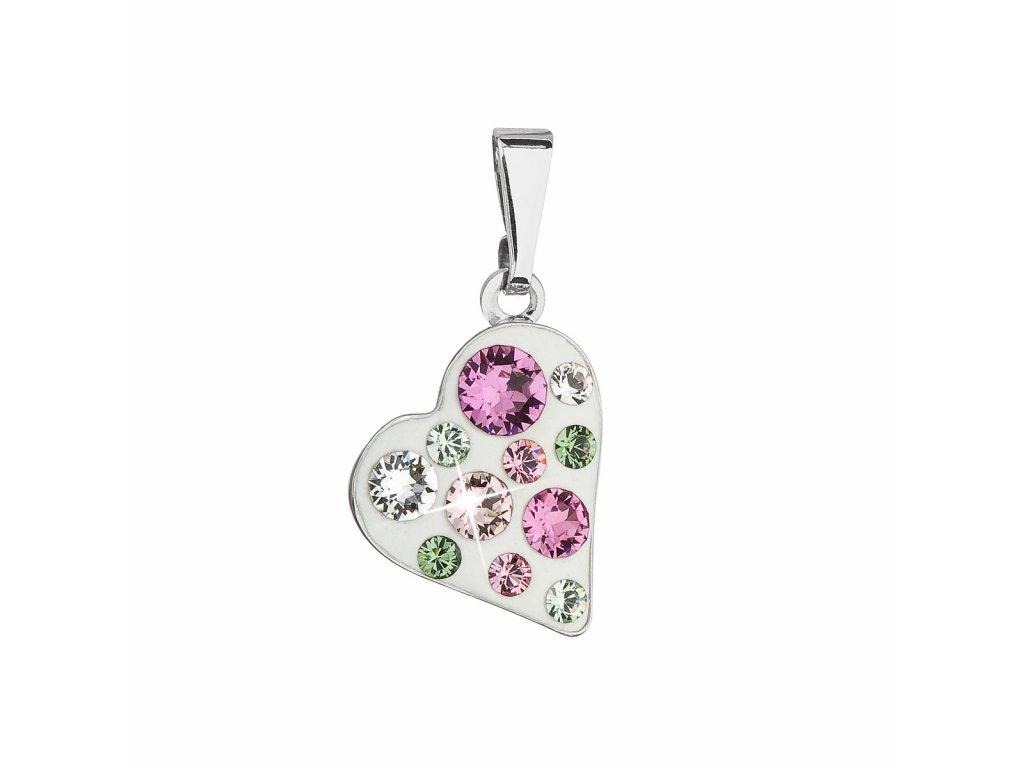 Přívěsek bižuterie se Swarovski krystaly růžové srdce 54027.3 pink