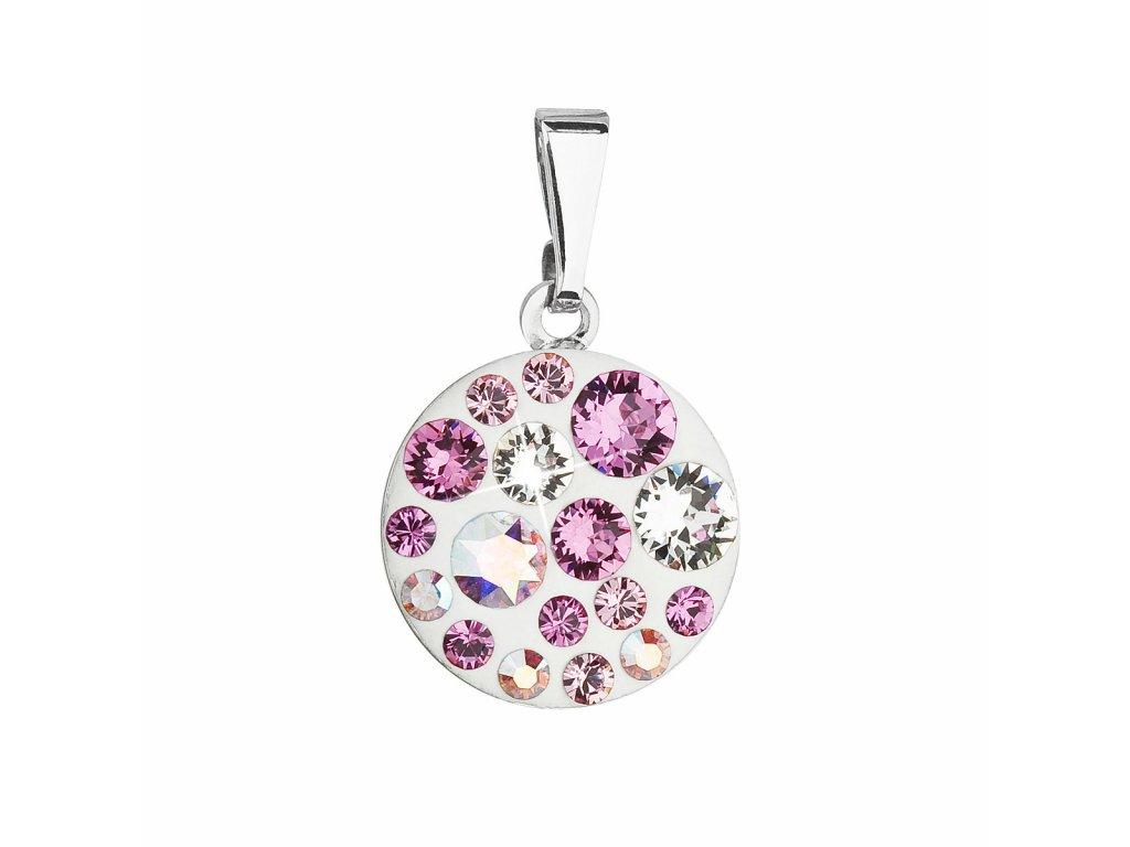 Přívěsek bižuterie se Swarovski krystaly růžový kulatý 54023.3