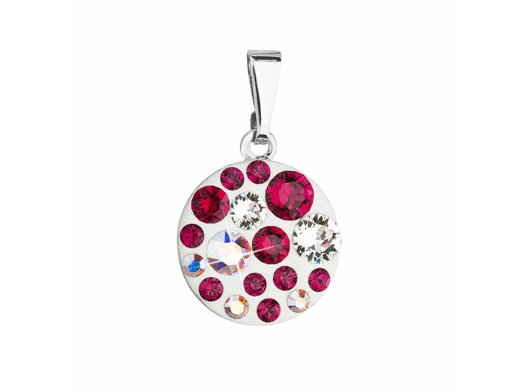 Přívěsek bižuterie se Swarovski krystaly červený kulatý 54023.3