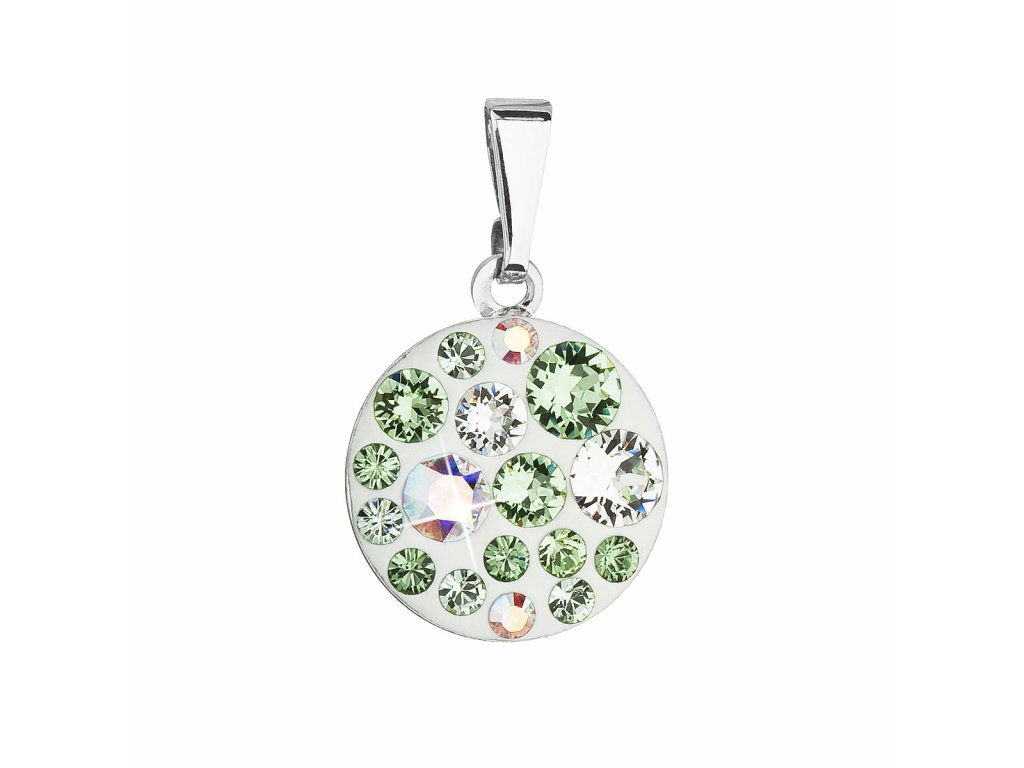 Přívěsek bižuterie se Swarovski krystaly zelený kulatý 54023.3