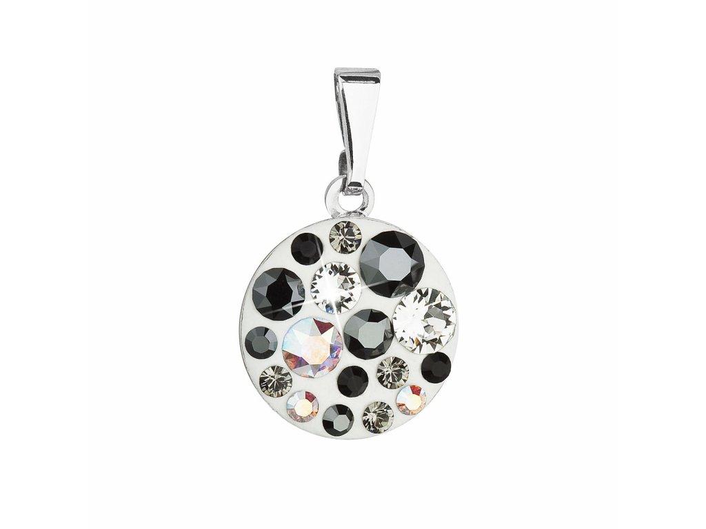 Přívěsek bižuterie se Swarovski krystaly šedý kulatý 54023.3