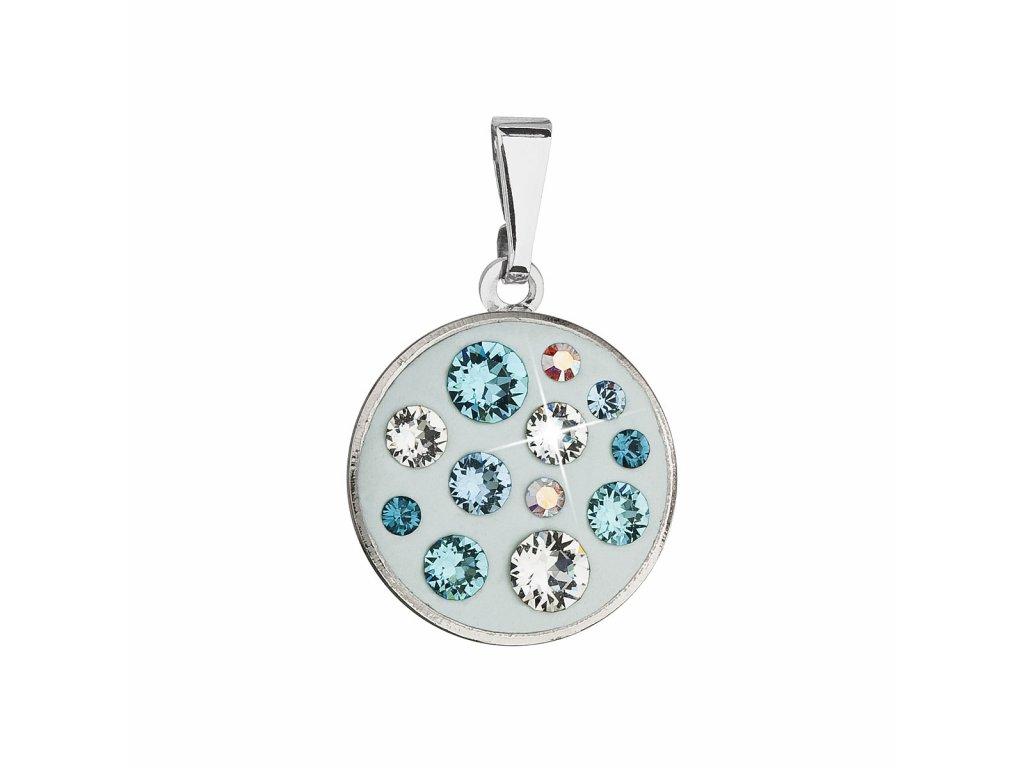 Přívěsek bižuterie se Swarovski krystaly světlemodrý kulatý 54024.3