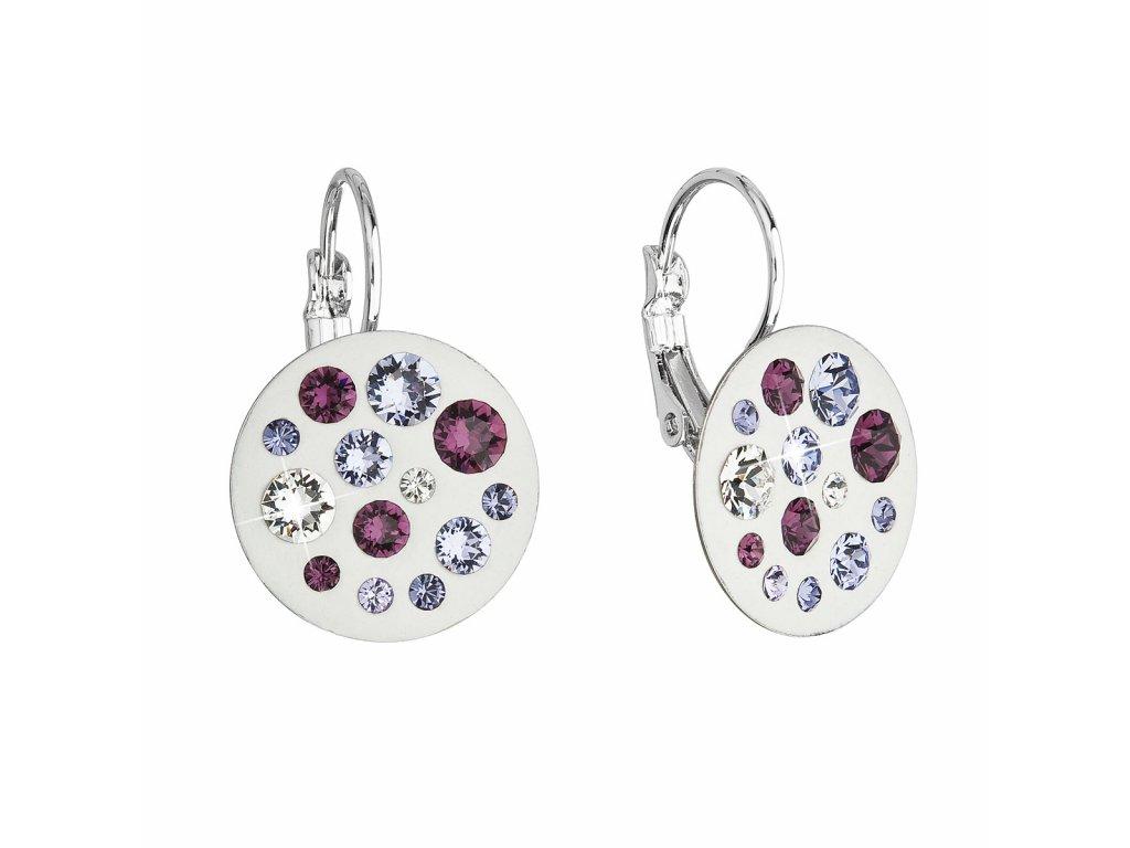Náušnice bižuterie se Swarovski krystaly fialové kulaté 51034.3 violet