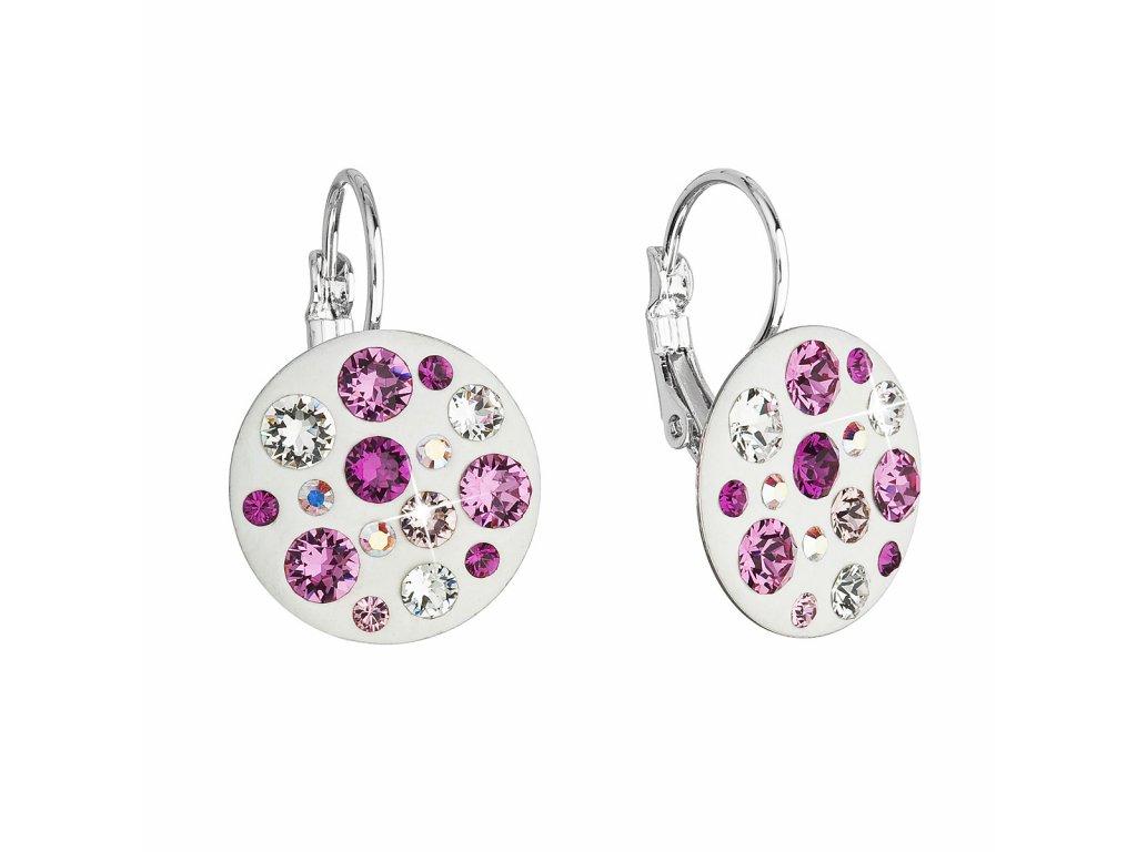 Náušnice bižuterie se Swarovski krystaly růžové kulaté 51034.3