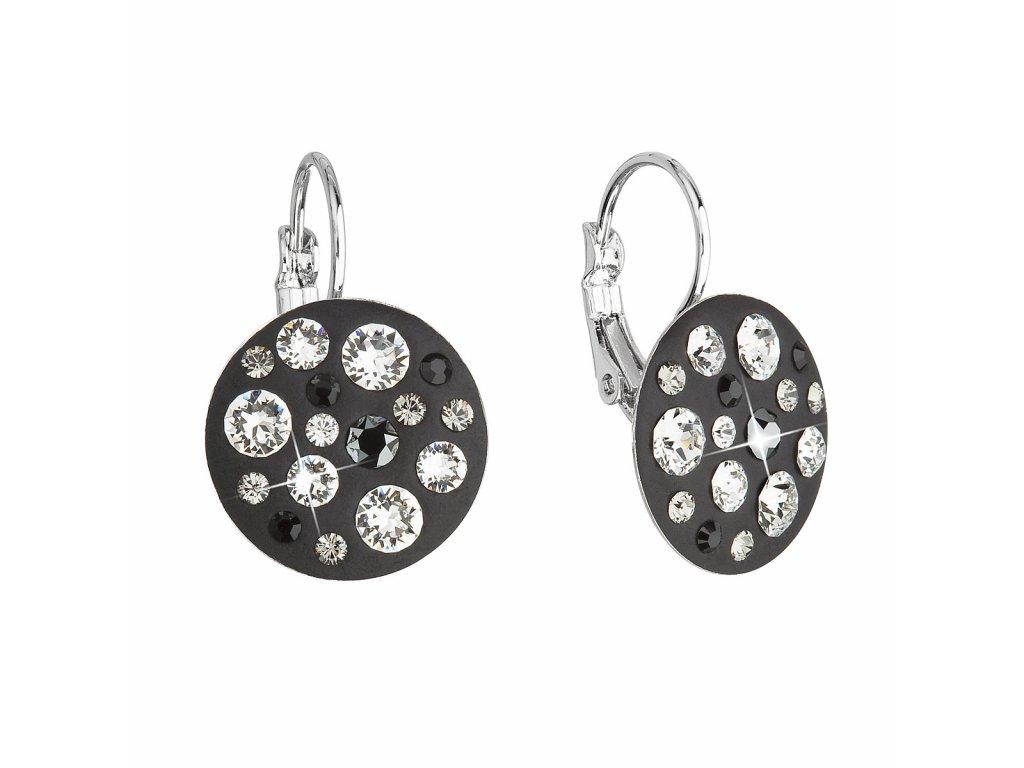 Náušnice bižuterie se Swarovski krystaly černé kulaté 51034.3