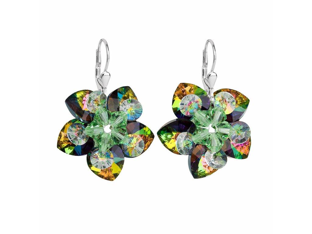 Stříbrné náušnice visací s krystaly Swarovski zelená kytička 31130.5