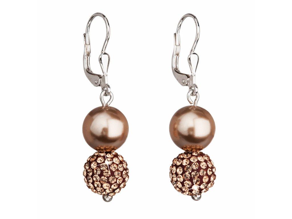 Stříbrné náušnice visací se syntetickými perlami a krystaly Swarovski hnědé kulaté 31155.3