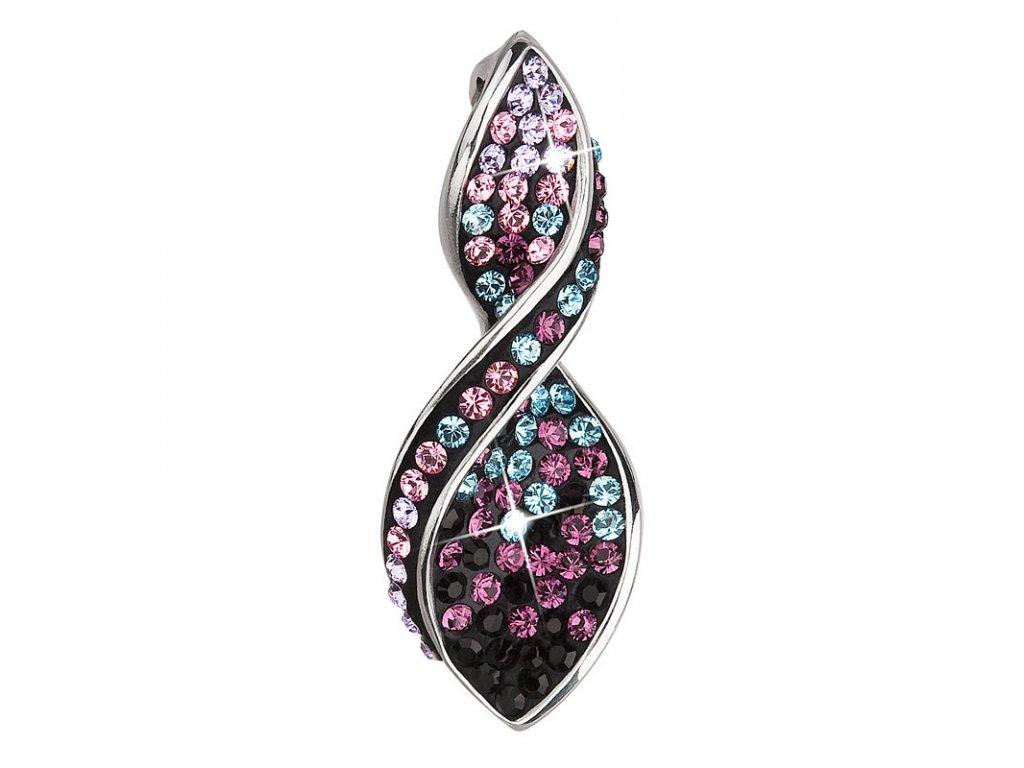 Stříbrný přívěsek s krystaly Swarovski fialová spirála 34166.3