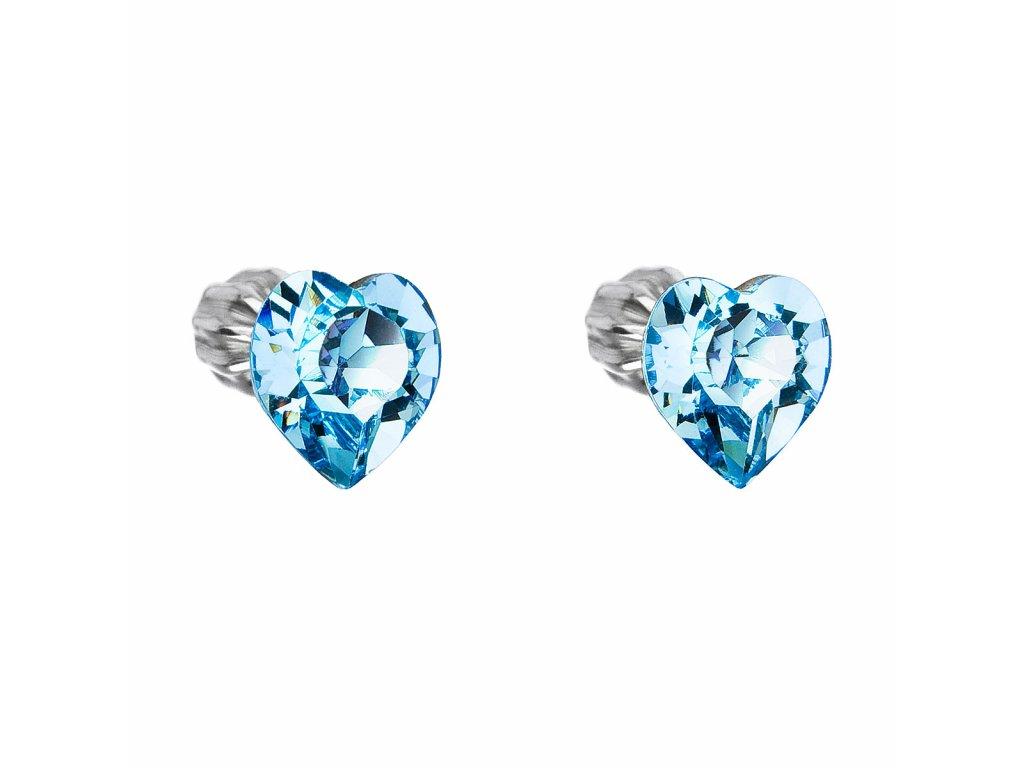 Stříbrné náušnice pecka s krystaly Swarovski modré srdce 31139.3