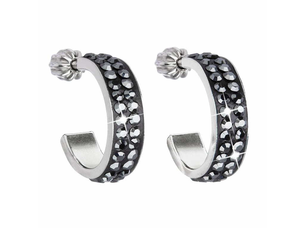 Stříbrné náušnice kruhy s krystaly Swarovski černý půlkruh 31119.5