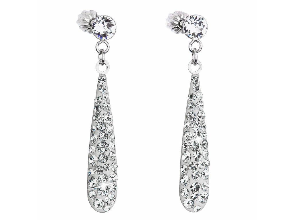 Stříbrné náušnice visací s krystaly Swarovski bílá slza 31163.1