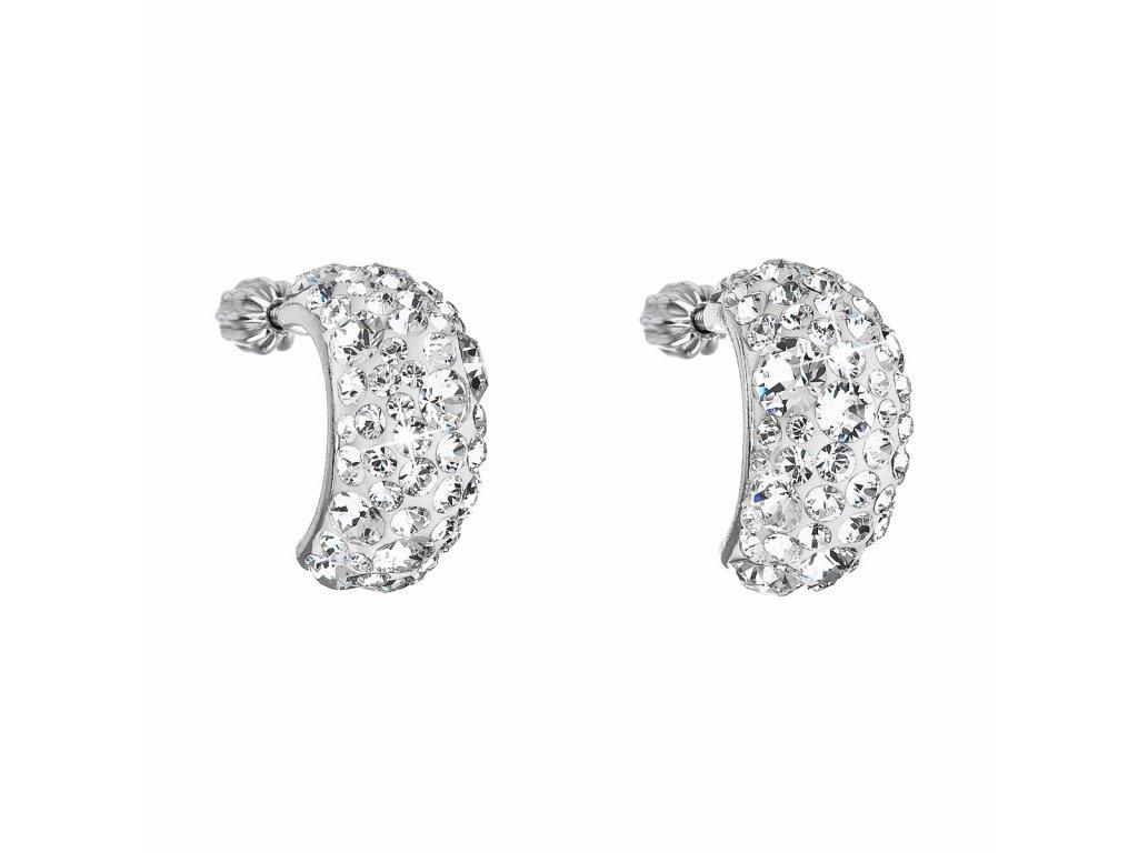 Stříbrné náušnice visací s krystaly Swarovski bílý půlkruh 31164.1