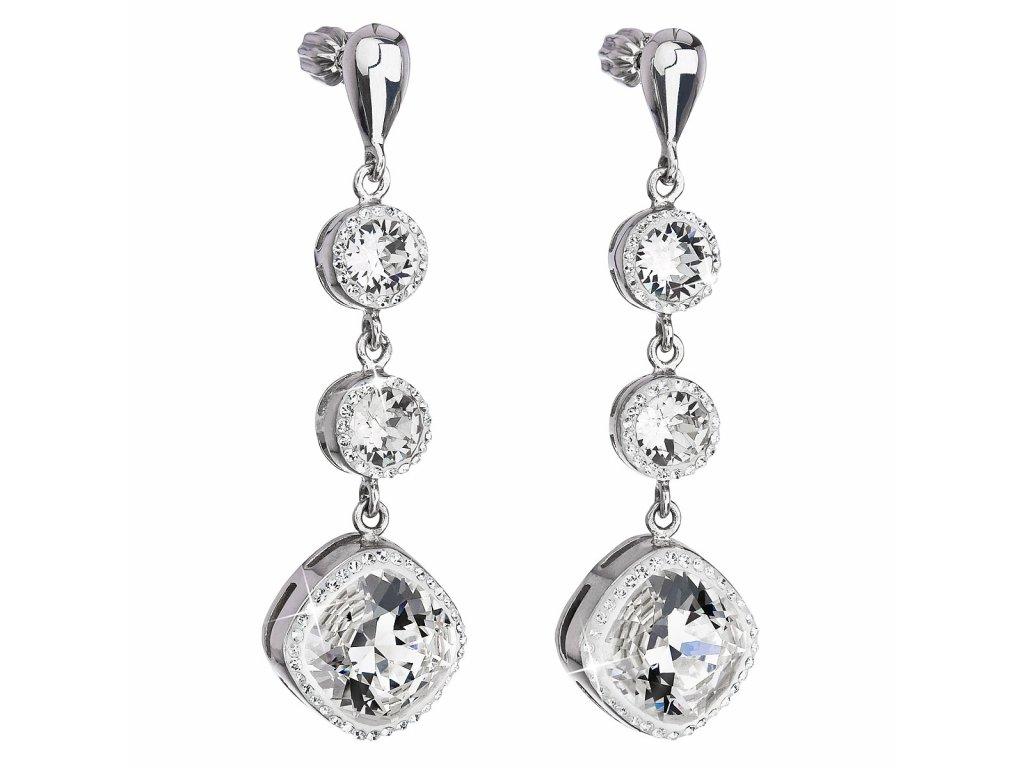 Stříbrné náušnice visací s krystaly Swarovski bílé kulaté 31167.1