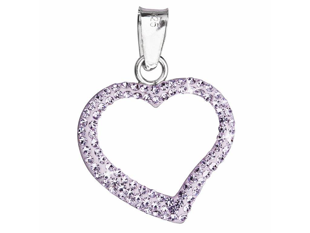Stříbrný přívěsek s krystaly Swarovski fialové srdce 34093.3