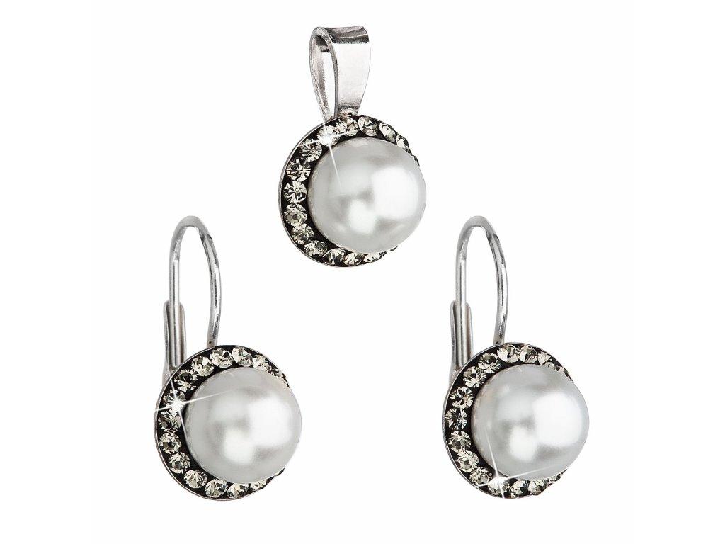 Sada šperků s krystaly Swarovski náušnice a přívěsek šedá perla kulaté 39091.3