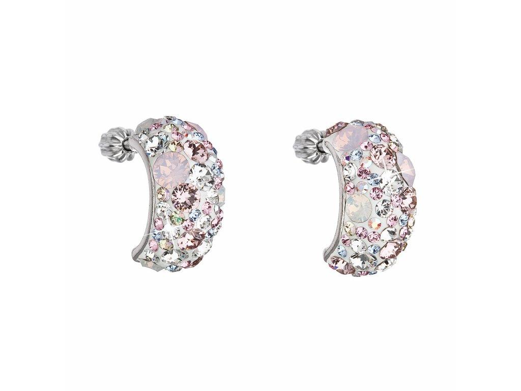 Stříbrné náušnice visací s krystaly Swarovski růžový půlkruh 31164.3