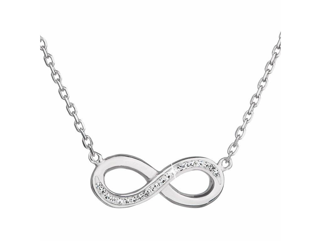 Stříbrný náhrdelník s krystaly Swarovski bílé infinity,osmička-nekonečno 32023.1