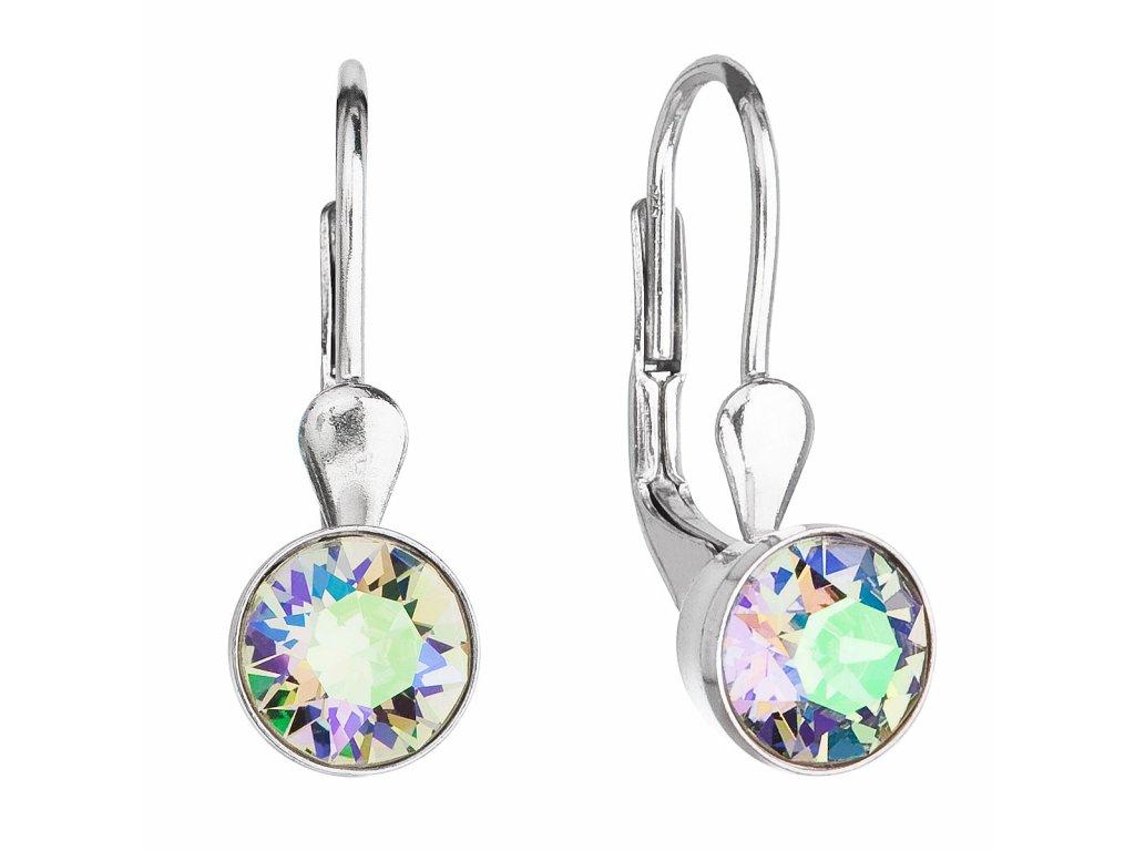 Stříbrné náušnice visací s krystaly Swarovski zelené kulaté 31112.5