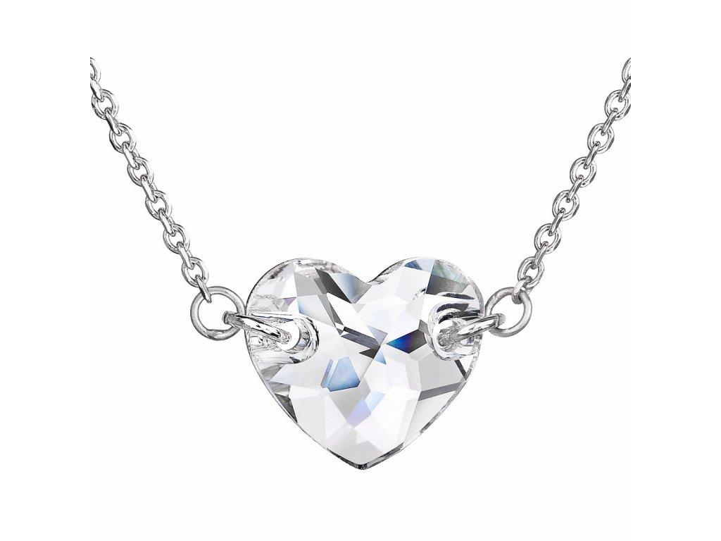 Stříbrný náhrdelník s krystaly Swarovski bílé srdce 32020.1