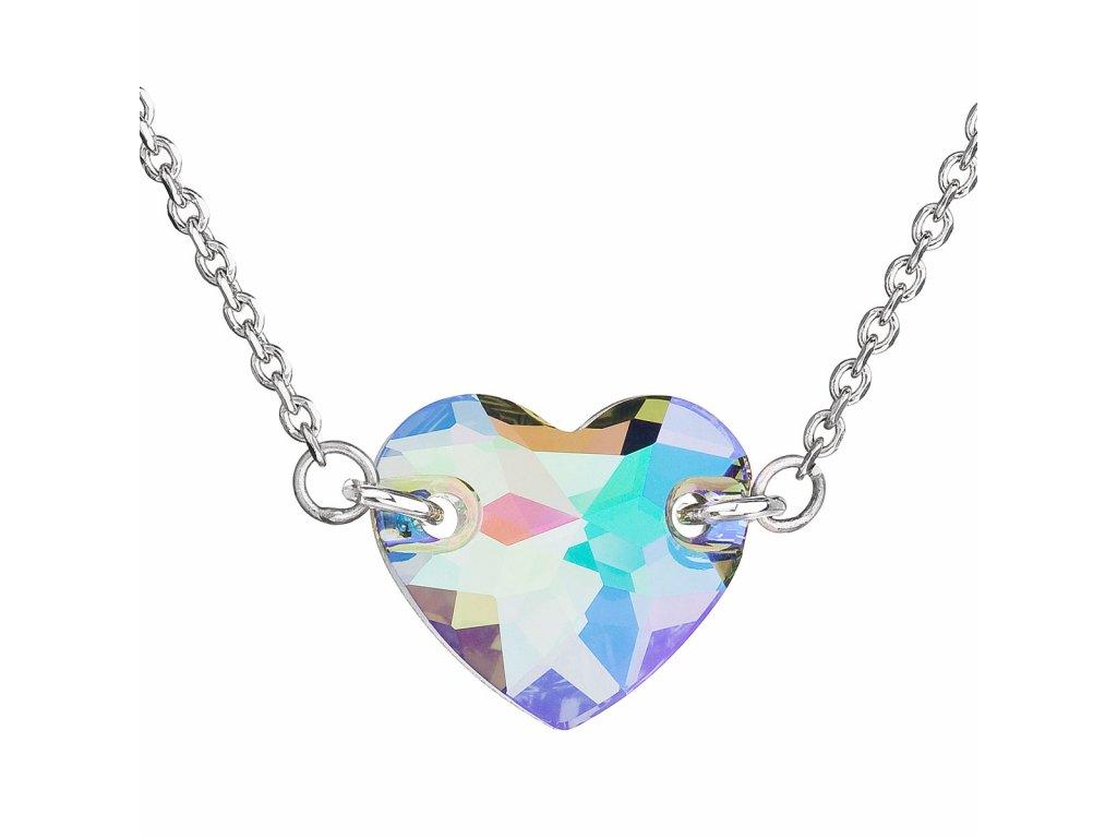 Stříbrný náhrdelník s krystaly Swarovski zeleno-fialové srdce 32020.5