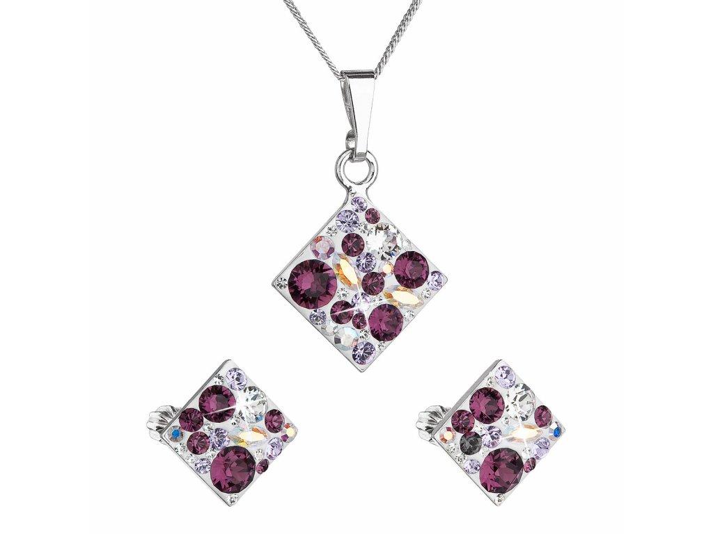 Sada šperků s krystaly Swarovski náušnice, řetízek a přívěsek fialový kosočtverec 39126.3 amethyst