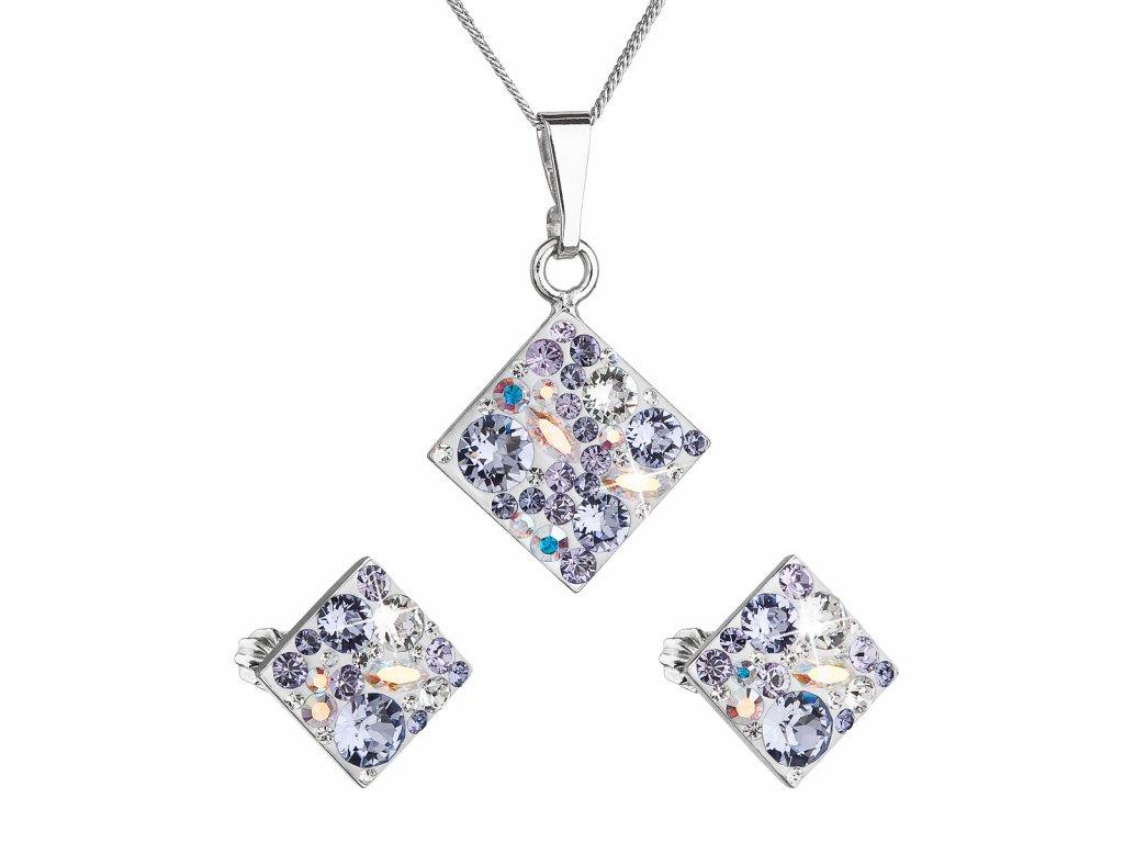 Sada šperků s krystaly Swarovski náušnice, řetízek a přívěsek fialový kosočtverec 39126.3 violet