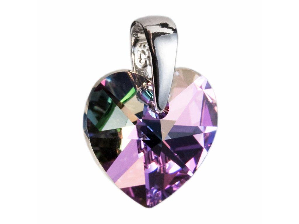 Stříbrný přívěsek s krystaly Swarovski fialové srdce 34003.5