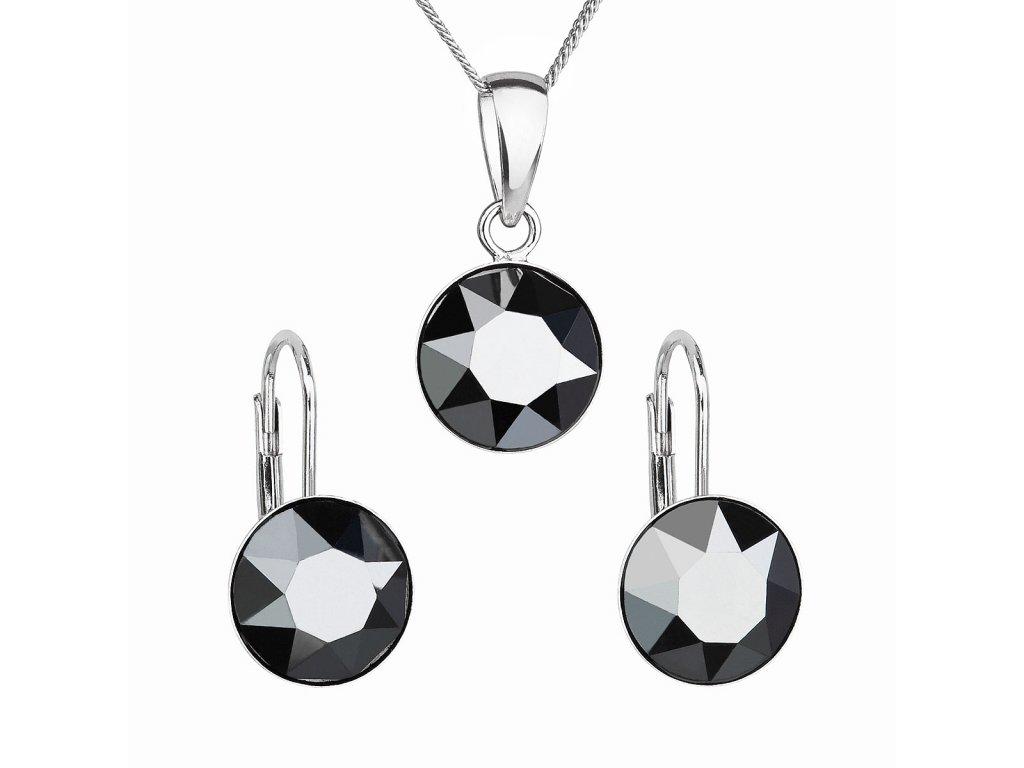 Sada šperků s krystaly Swarovski náušnice, řetízek a přívěsek černé kulaté 39140.5 hematite