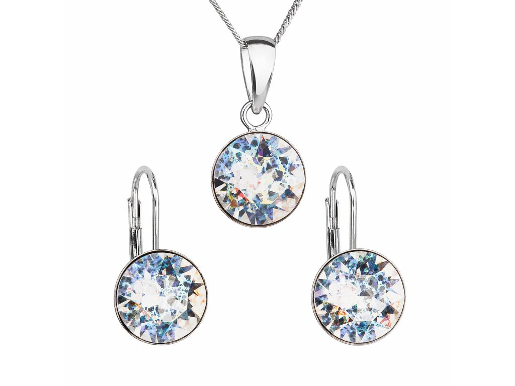 Sada šperků s krystaly Swarovski náušnice, řetízek a přívěsek bílé stříbrné kulaté 39140.5