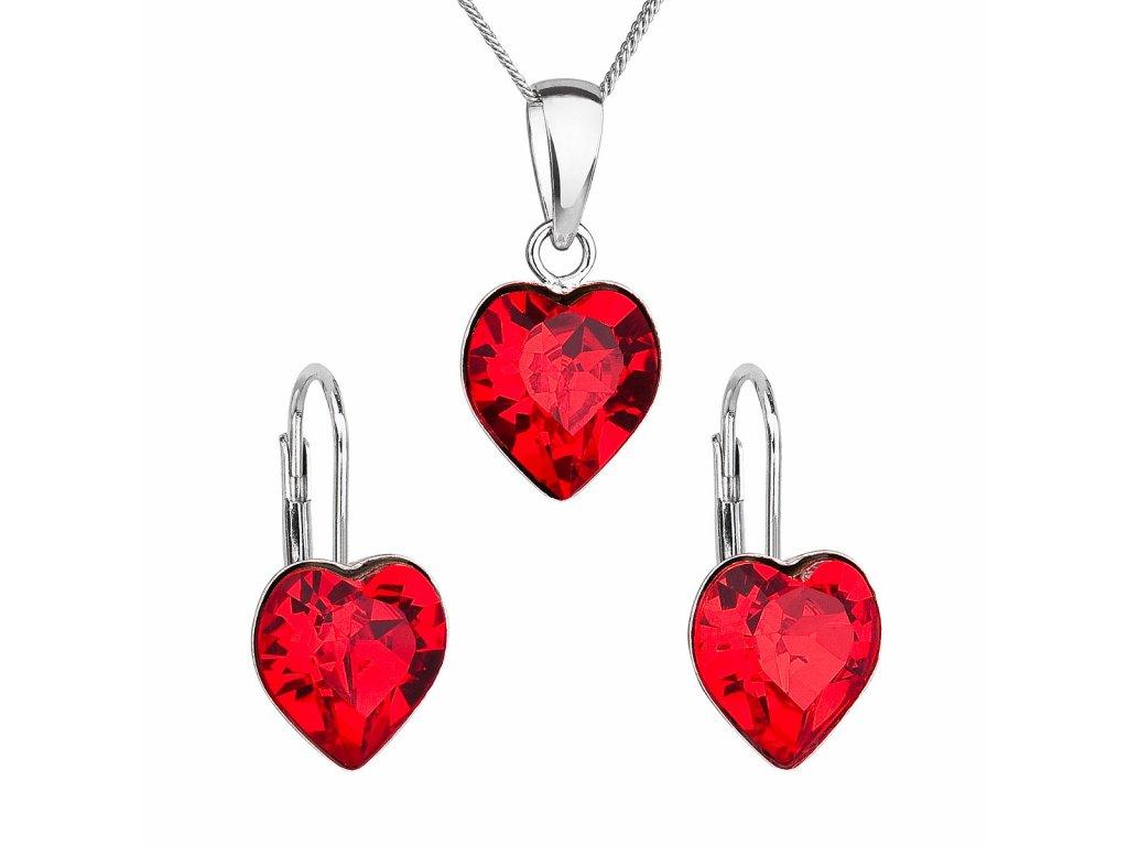 Sada šperků s krystaly Swarovski náušnice, řetízek a přívěsek červené srdce 39141.3
