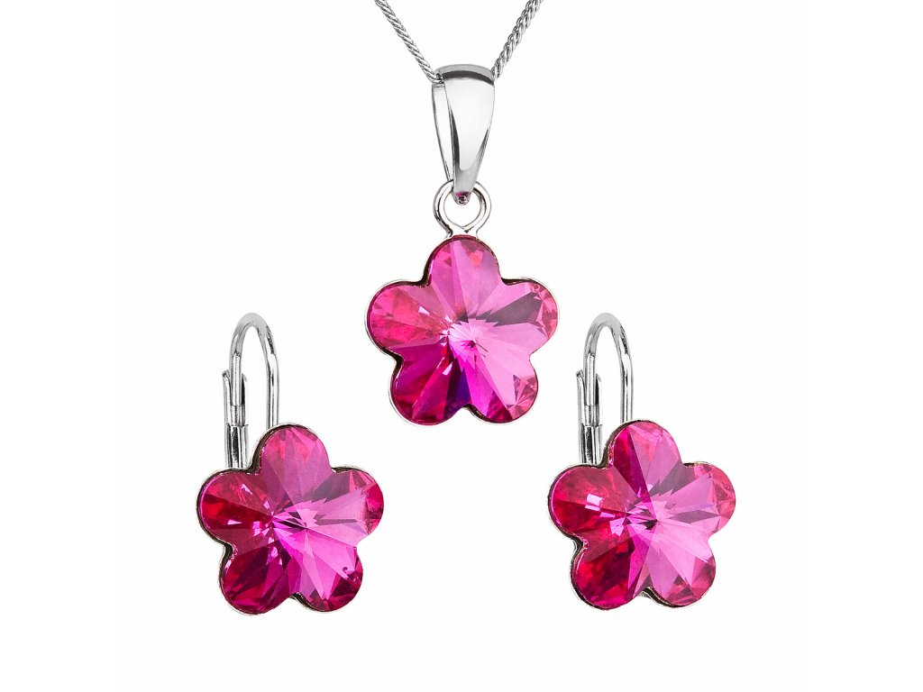 Sada šperků s krystaly Swarovski náušnice, řetízek a přívěsek růžová kytička 39143.3 fuchsia
