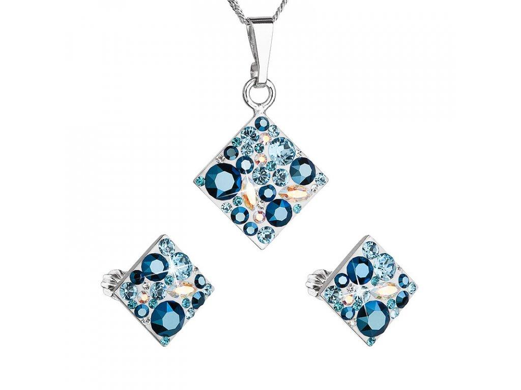 Sada šperků s krystaly Swarovski náušnice a přívěsek modrý kosočtverec 39126.3 aqua