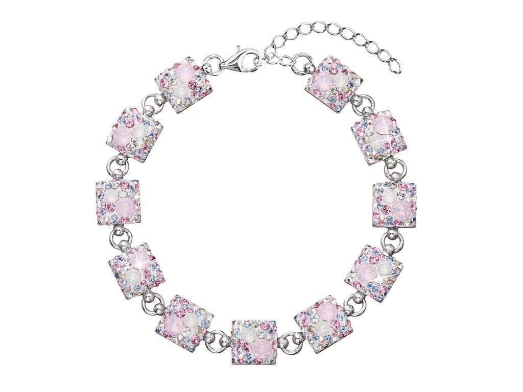 Stříbrný náramek se Swarovski krystaly růžový 33047.3